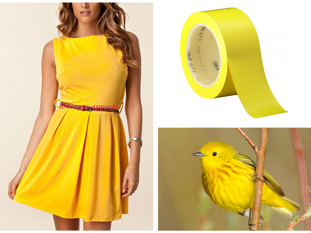 yellow dress, yellow tape, yellow bird
